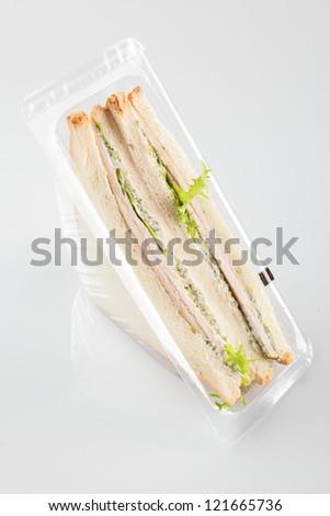 fresh and tasty sandwich on white background