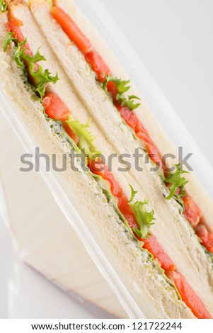fresh and tasty sandwich on white background