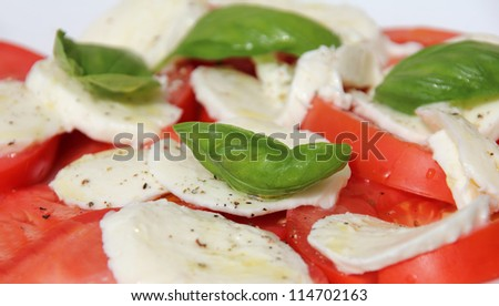 Fresh and tasty tomatoes, basil, mozzarella and olive oil