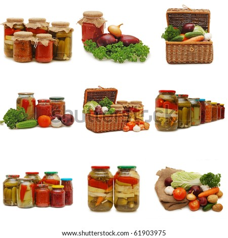 Fresh and tinned vegetables isolated on white