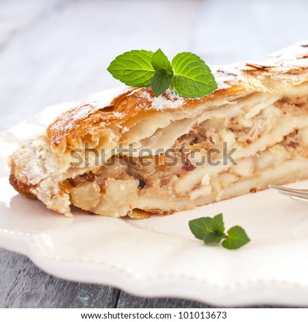 fresh apfelstrudel with mint