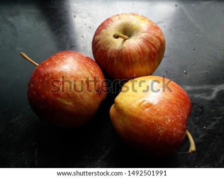 fresh apple in black background
