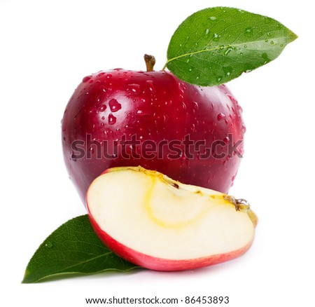 fresh apple with leaves on white