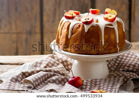 Fresh apples cake with cream cheese frosting.selective focus #499533934
