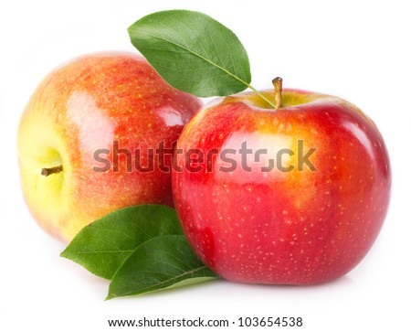 fresh apples isolated on white background - stock photo