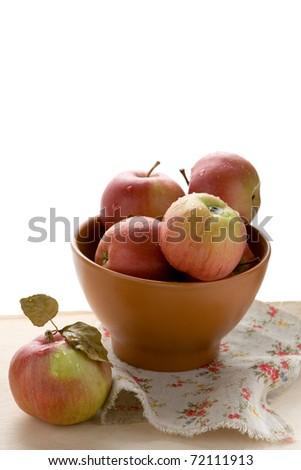 fresh apples on a bowl