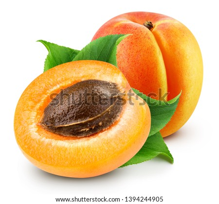 Fresh apricot fruits. Apricot isolated on white background. Apricots with leaf and half apricot fruit. Apricot Clipping Path. Сток-фото ©