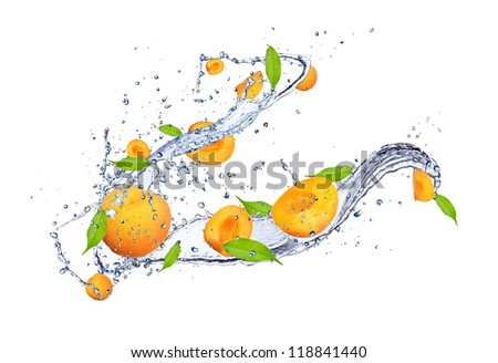 Fresh apricots in water splash, isolated on white background