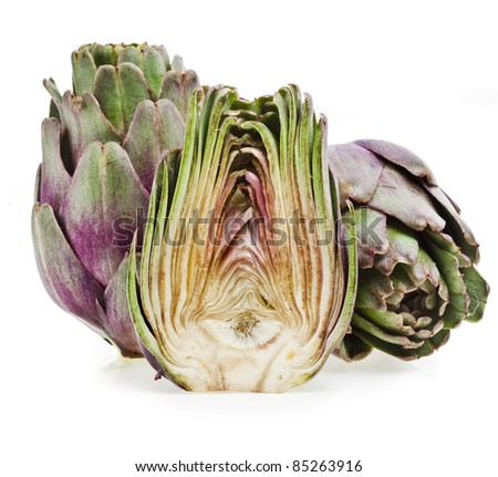 fresh artichoke on a white background - stock photo