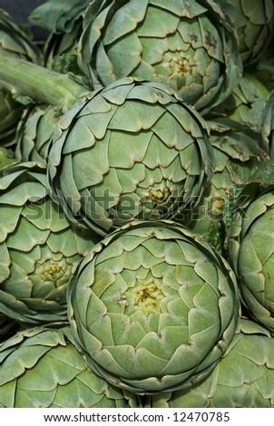 Fresh Artichokes at Farmers Market - stock photo