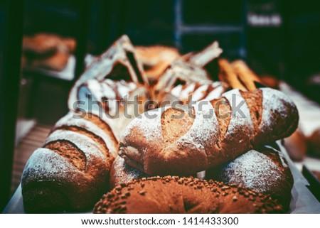 Fresh Artisan Bread in vintage color tone