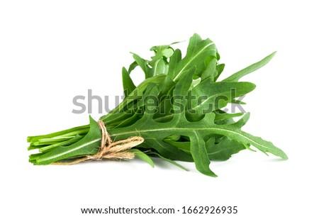 fresh arugula leaves on white background ストックフォト ©