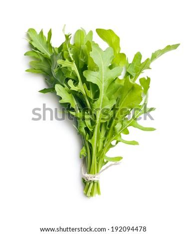 fresh arugula leaves on white background Foto stock ©