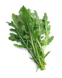 Fresh arugula salad close up.