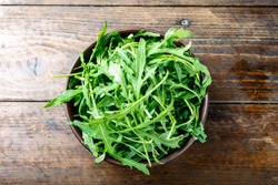 fresh arugula salad in a clay plate on the table. space for text