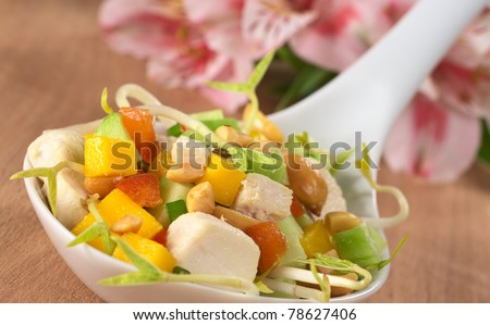 Fresh Asian salad with chicken, mango, cucumber, bean sprouts, red bell pepper and peanuts on ceramic spoon with inca lily in the back (Selective Focus, Focus on the chicken and the mango on the top)
