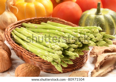 Fresh asparagus in the basket