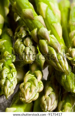 fresh asparagus  on a cutting board healthy