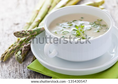 fresh asparagus soup in a bowl