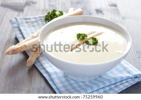 fresh asparagus soup in a bowl with parsley Stock photo ©