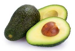 fresh avocado isolated on white background closeup