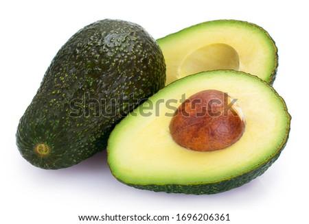 fresh avocado isolated on white background closeup Foto stock ©