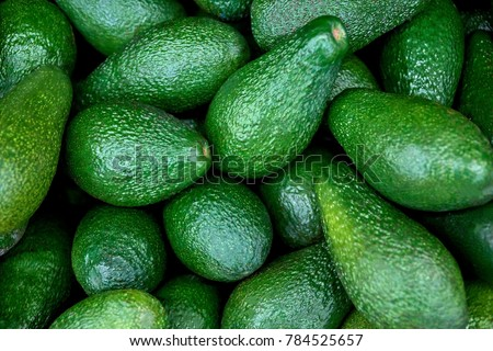 fresh avocado on the market. avocados are very nutritious and contain a wide variety of nutrients.  #784525657