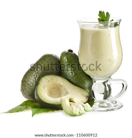 Fresh Avocado smoothie isolated on white background
