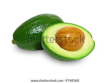Fresh avocados isolated on white background - stock photo