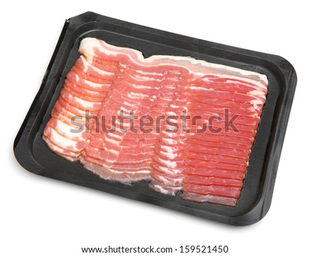Fresh bacon strips in a black plastic packaging tray.