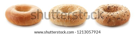Fresh bagels isolated on white background