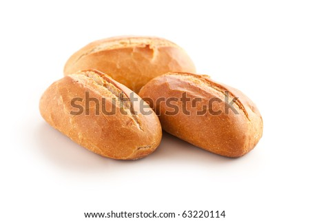 fresh baguette on white background