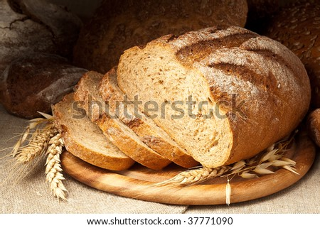 fresh-baked bread - stock photo