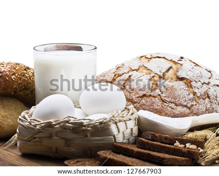 fresh baked bread and ingredients for cooking