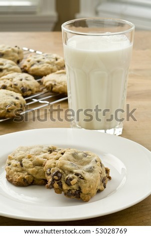 Fresh baked chocolate chip cookies and glass of milk