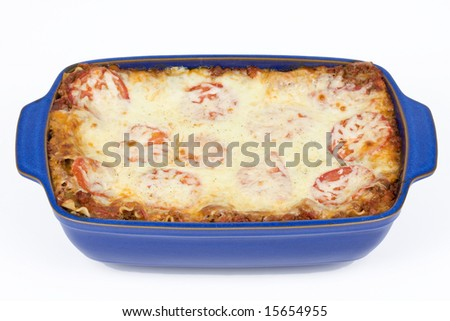 Fresh baked mozzarella and beef lasagna in blue dish on a white background