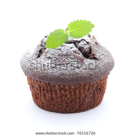 fresh baked muffin isolated on white background