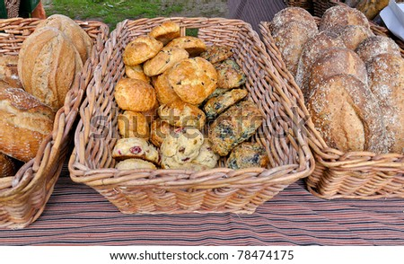 Fresh baked muffins and breads at outdoor market