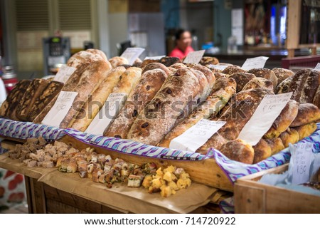Fresh baked rustic bread at the houtbay market. Cape town, South Africa
