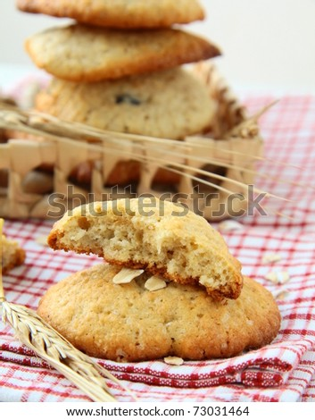 Fresh baked stack of warm oatmeal cookies