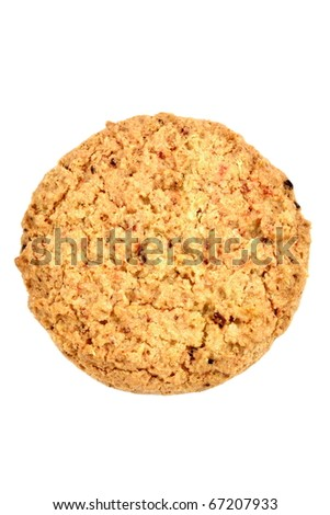 Fresh baked Stack of warm oatmeal cranberry cookies isolated against white background, shallow DOF