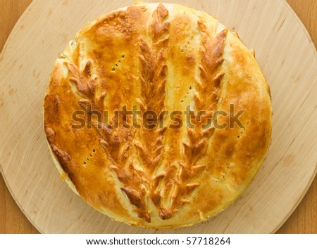 Fresh-baked traditional ukrainian homemade cabbage pie. Viewed from above.