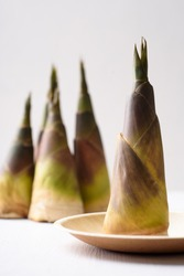Fresh bamboo shoot on plate with white background, Organic wild vegetable used in Asian food