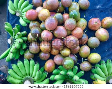 Fresh banana and fresh passion fruit