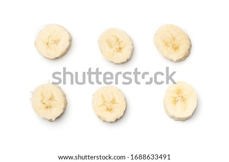 Fresh banana isolated on white background. Top view