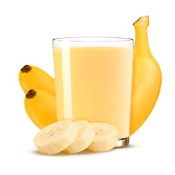 Fresh banana shake in a glass and banana pieces isolated on white background.