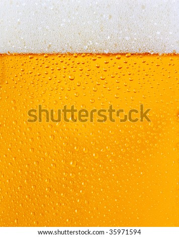Fresh beer dewy glass texture