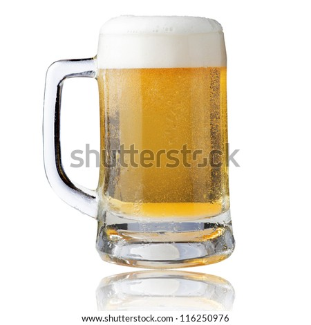 Fresh beer in glass with foam on white background