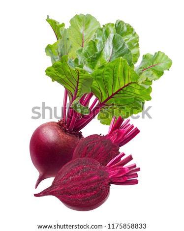 Fresh beet root and two slices isolated on white background. Package design element with clipping path