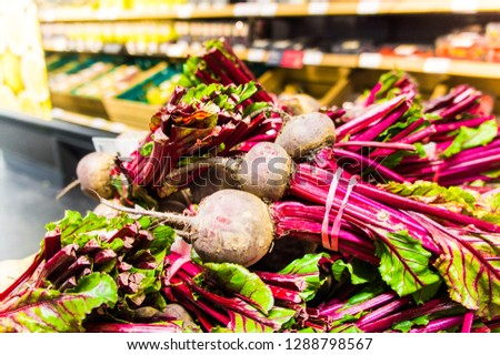 Fresh beetroot / beets on display in a supermarket in the north of England